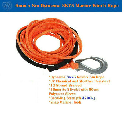6mm X 8m Dyneema SK75 Marine Hand Winch Rope Boat Car Tow Recovery Red Orange
