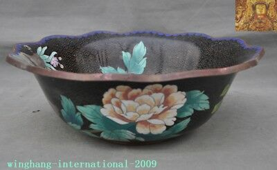 Old antique China dynasty bronze Cloisonne peony flower bird statue Tea cup Bowl