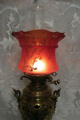 "A Fine Acid Etched Victorian Oil Lamp Shade - 4"" Duplex Fit Perfect"