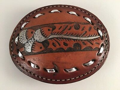 Leather belt buckle oval acorns leaves design laced edge stitched