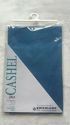 Midnight Blue Cashel 28 Count Evenweave Fabric for Cross Stitch Fat Quarter