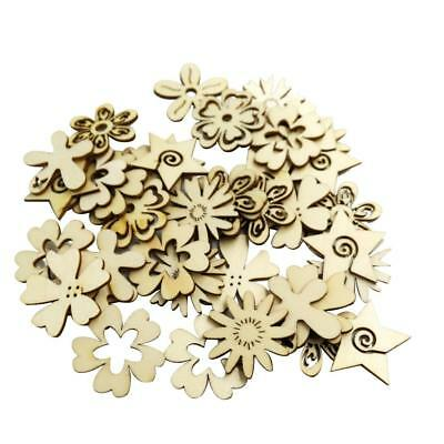 50pcs Wooden Tags Flower Shapes Wood Crafts MDF Cut Ornaments DIY Decoration