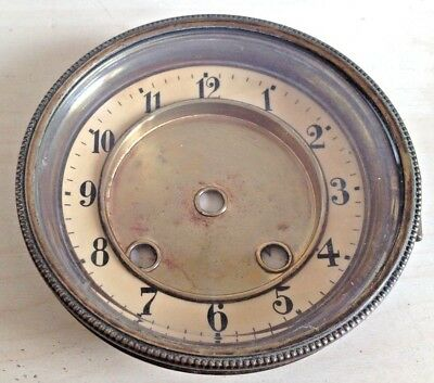 """Vintage Antique Clock Face with Brass Bezel and Glass 4.5"""" 12cm Diameter"""