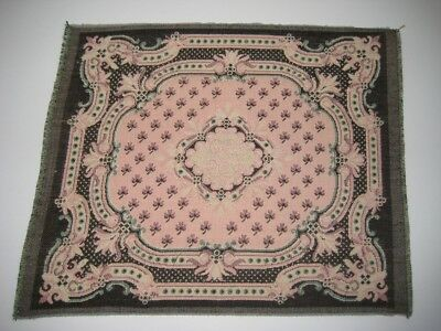"Dollhouse Miniature Savonnerie Rug Carpet Pink 9.75"" x 8"" Woven in France Cotton"