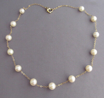 """Vintage Heavy 14K Yellow Gold White Pearl Heart Clasp Necklace 16"""""""