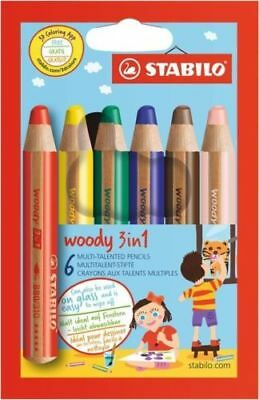 STABILO Multitalentstift Woody 3 in 1 Wachsmalstift Farbstift 6er Karton-Etui