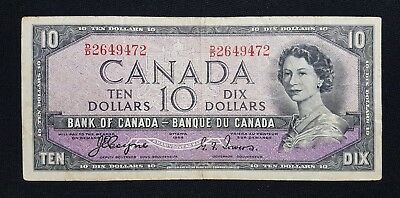 1954 Canada $10 Bank note - Devil's Face - See Photos - N-245
