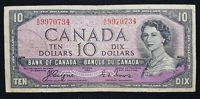 1954 Canada $10 Bank note - Devil's Face - See Photos - N-243