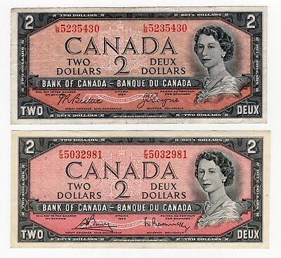Lot Of 2 1954 Bank Of Canada Two 2 Dollar Bank Notes Nice Bills