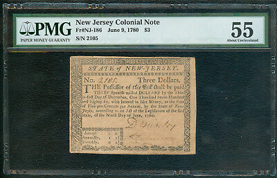 New Jersey $3, June 1780, NGC AU55