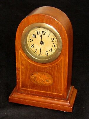 Nice Small Edwardian Mantle Clock With Swiss Movement & Inlaid Case
