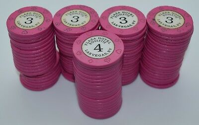 Set of 100 Plaza Roulette Mix Casino Chips Las Vegas Nevada 8-Suits Mold 1992