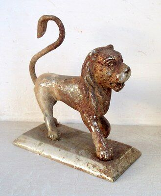 1900's Antique Old Rare Hand Carved Brass Beautiful Standing Lion Statue Figure