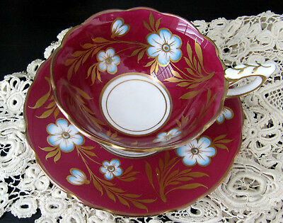 Royal Stafford Red Cup And Saucer With Blue / White Posies Gold Leaves And Trim