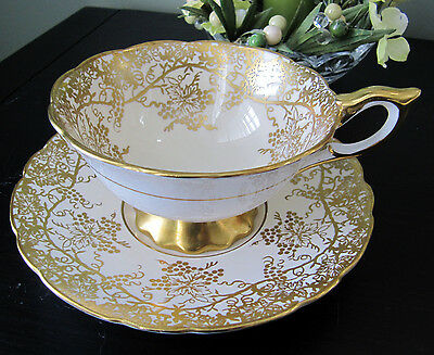 Vintage Royal Stafford Cup and Saucer Heavy Gold Grapes and Vines