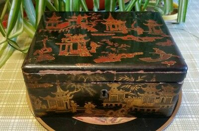 Antique Chinese gilt and lacquered tea caddy with pewter