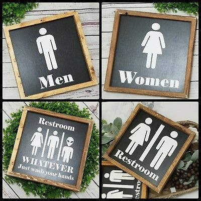 Restroom Sign - Handmade Farmhouse style wood sign | Bathroom sign, bath decor