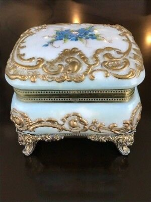 Early CF Monroe Wave Crest Opaline Glass Dresser Bx Casket Brass Mounted