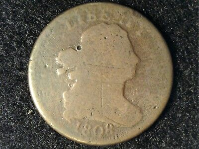 1808 US Half Cent in Low Grade - Obv Scratches & Mushy Rev Detail