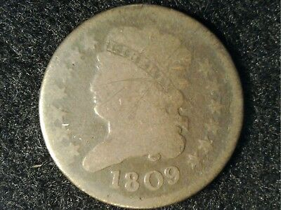 1809 US Half Cent #2 in Low Grade - OK appearance, Just Very Worn