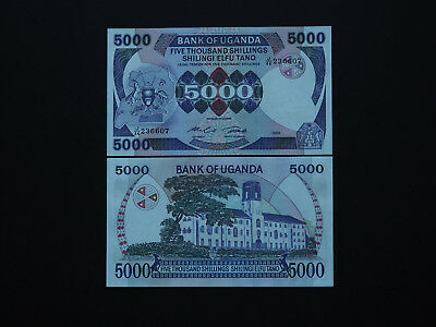 Uganda Banknotes Stunning large note 5000 Shillings - Fabulous design  MINT UNC