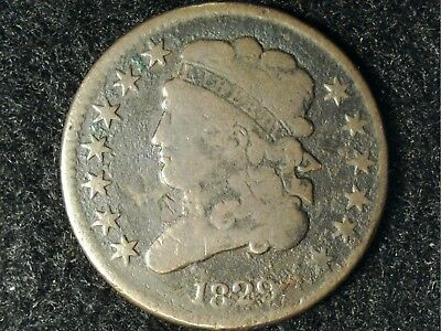 1829 US Half Cent in Low Grade - Brown But Minor Obv Dmg in Front of Bust