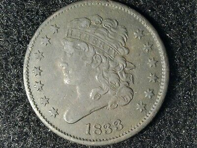 1833 US Half Cent - Great Detail Both Sides but Dask Appearance