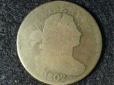 Attractive 1802 Draped Bust Large Cent #1 in Low Grade - Nice Brown, Just Worn