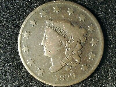 1829 Coronet Large Cent in Low Grade - OK Brown Appearance