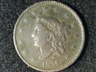 1834 Coronet Large Cent in Low Grade - Some Detail But Porosity