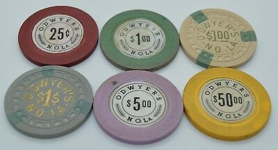 Set of 6 O'Dwyer's 25¢-$1-$5-$50 Casino Chips New Orleans Louisiana 1949-1951