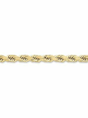 10k Yellow Gold 8mm Wide Solid,Diamond-Cut Rope Chain Anklet Ankle Bracelet