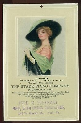 """1908 Starr Piano Co. """"Lady Stella"""" Picture Promotion Advertising Hanger Postcard"""