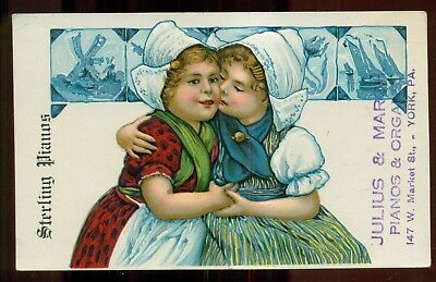 """1908 """"The Sterling Pianos"""" Julius & March York,PA Advertising Postcard"""