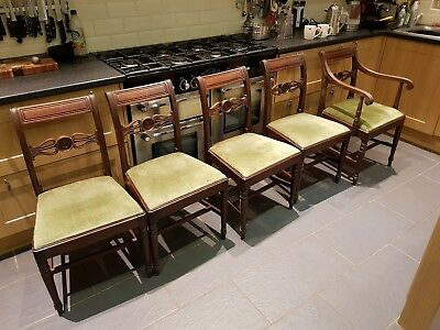 Set 5 Victorian solid mahogany dining chairs c1830 with Bulls eye back