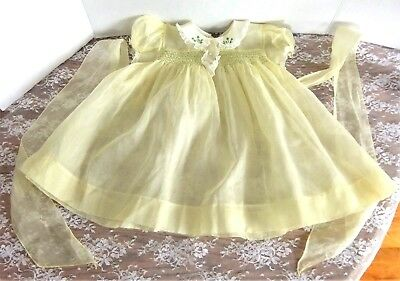 Vintage Yolande Toddler Easter Dress Sheer Yellow Smocking Embroidery & Lace