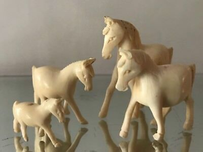 "Vintage hand carved miniature bone horse figurine 1""To 2"" Long Set Of 4"