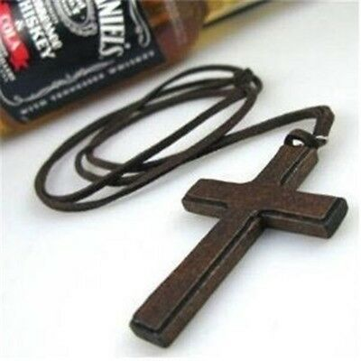 Cashmere Wooden Necklace Genuine Pendant Leather Simple Cross Rope Retro Chain