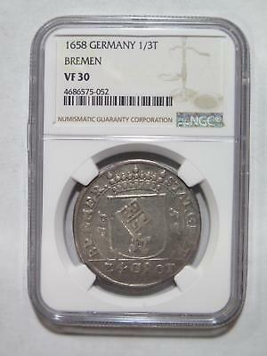 Germany Bremen 1658 1/3 Thaler 24 Grote Ngc Vf30 Rare World Coin Collection Lot