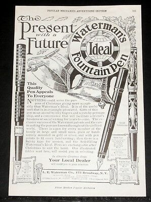 1912 Old Magazine Print Ad, Watermans Ideal Fountain Pen, Present With A Future!