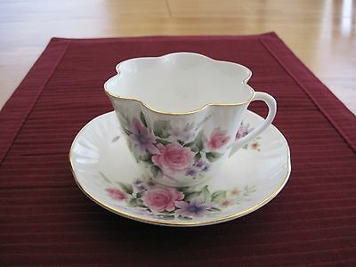 Vintage Crown Staffordshire Floral Fluted Cup Bone China Tea Cup & Saucer