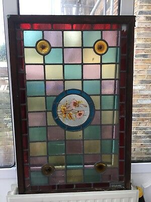 Beautiful Large Antique Vintage Stained Glass Panel. Stunning!