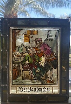 Antique Stained Glass Swiss/German Trade Sign Dentist Dental