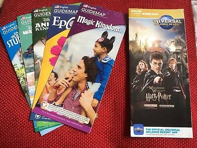 Disney World and Universal Maps. April 2018. Florida. New and unopened.