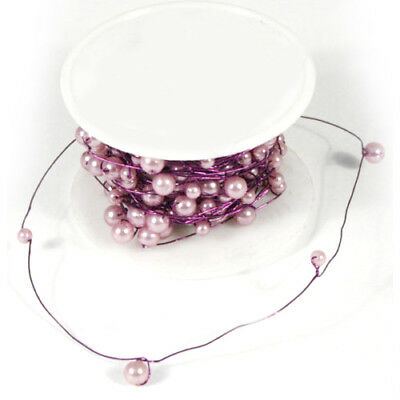 Floristry Acrylic Pearls on Reel Wire Reel 20m Wedding & Crafts Baby Pink