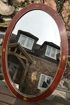 Antique Art Nouveau Edwardian Mahogany Inlaid Mirror