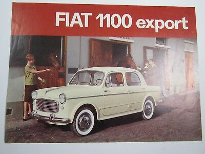 """Auto Car 1-Page Poster 8"""" x 11"""" Fiat 1100 Export-Off White / Cream-1960s"""
