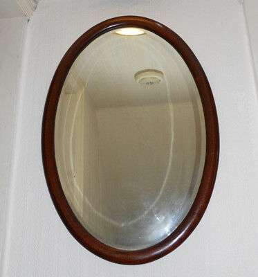 Edwardian Oval Mirror Mahogany and Box wood inlay Beveled Glass, Top Quality.