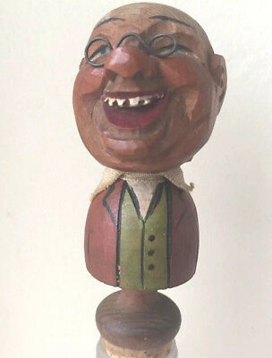 ANRI WOOD WOODEN CARVING STOPPER CORK Bobble Big Head with Teech Seen 5.5""