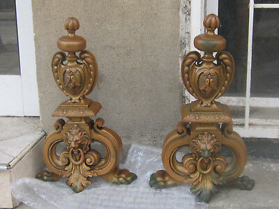 A Pair Of Antique French Solid Bronze Chenet Andirons Fireplace  Decorations
